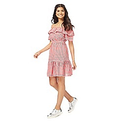 Red Herring - Red gingham print Bardot neck mini length skater dress
