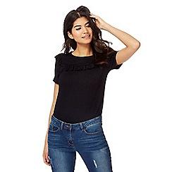 Red Herring - Black ruffle t-shirt
