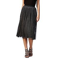 Red Herring Petite - Silver glitter mesh skirt
