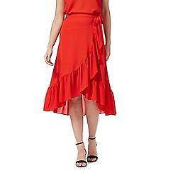 Red Herring - Red frill wrap skirt
