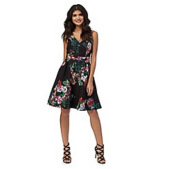 Red Herring - Black floral print lace dress