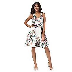 Red Herring - White floral print lace v-neck knee length prom dress