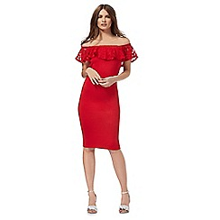 Red Herring - Red lace trim Bardot dress