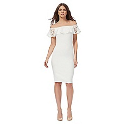 Red Herring - White lace trim Bardot dress