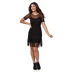 Red Herring - Black mesh ruffle skater skirt dress
