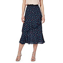 Red Herring - Navy floral print frill skirt