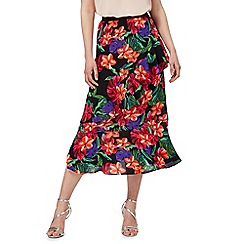 Red Herring - Black floral print frill skirt