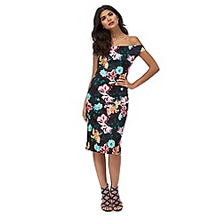 Red Herring - Black floral print Bardot dress