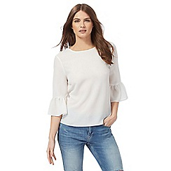 Red Herring - White textured flute sleeved top