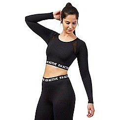 Red Herring - Black long sleeve mesh crop top