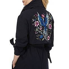 Red Herring - Navy embroidered detail trench coat