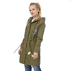 Red Herring - Khaki floral embroidered parka jacket