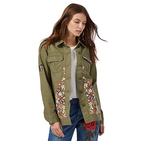 Red Herring - Khaki embroidered utility jacket