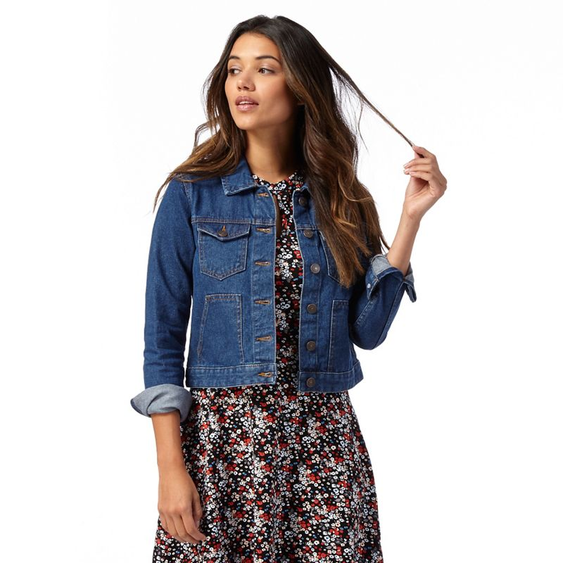 Plus Size Red Herring Dark Blue Denim Jacket, Womens, Size: