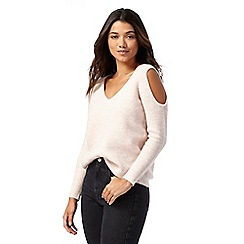 Red Herring - Light pink cold shoulder jumper