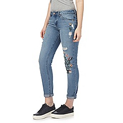 Red Herring - Blue embroidered boyfriend jeans