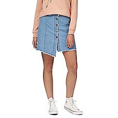 Noisy may - Light blue frayed denim skirt