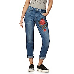 Red Herring - Blue mid wash cropped embroidered rose jeans