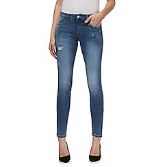 Wrangler - Mid blue mid wash cropped skinny jeans