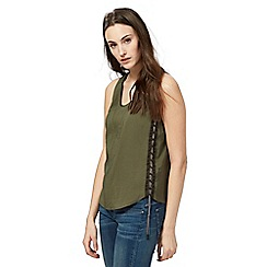 G-Star Raw - Khaki green sleeveless twill top