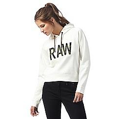G-Star Raw - White 'Raw' print hoodie
