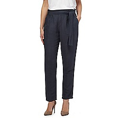 Red Herring - Navy linen blend paper bag trousers