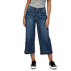 Red Herring - Blue mid wash wide leg cropped jeans