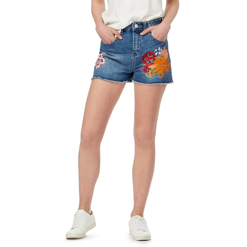 Red herring blue mid wash embroidered denim shorts £
