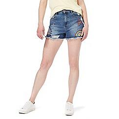 Red Herring - Mid blue applique denim shorts