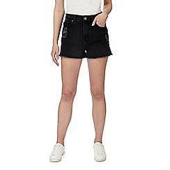 Red Herring - Black distressed denim shorts