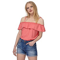 Red Herring - Pink frill Bardot top