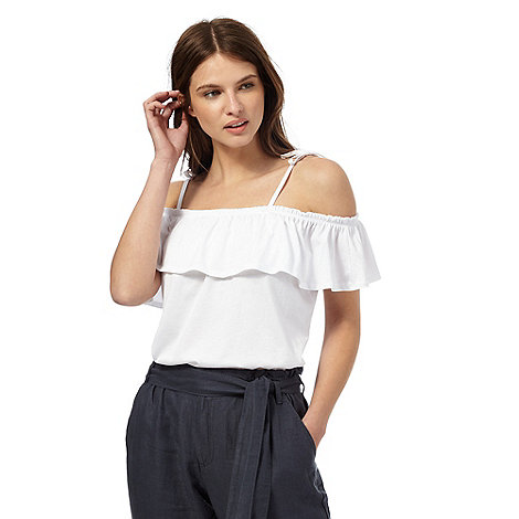 Red Herring - White frill bardot top