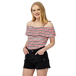 Red Herring - Multi-coloured striped frill Bardot top