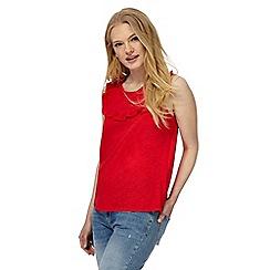 Red Herring - Red frilled yoke vest
