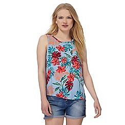 Red Herring - Multi-coloured tropical floral print shell top