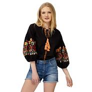 Black embroidered floral balloon sleeve top