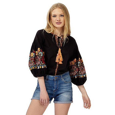 Red Herring - Black embroidered floral balloon sleeve top