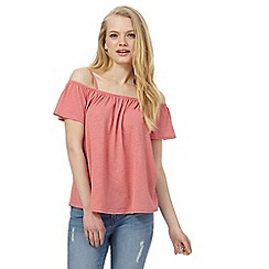 Red Herring - Pink jersey bardot top