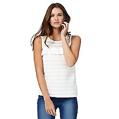 Red Herring - White ruffle knit top