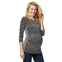 Red Herring Maternity - Navy and white striped zip detail top
