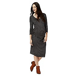 Red Herring Maternity - Black striped print scoop neck dress