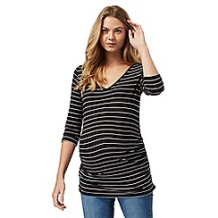 Red Herring Maternity - Black striped V neck top
