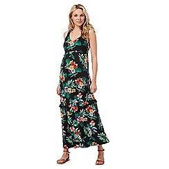 Red Herring - Black tropical print maternity maxi dress