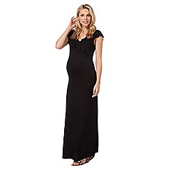Red Herring Maternity - Black ruffle maternity maxi dress