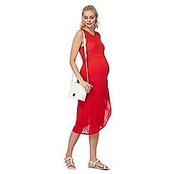 Red Herring Maternity - Red midi length maternity shift dress
