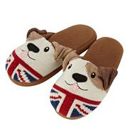 Brown knitted dog slippers