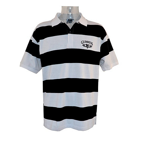 Guinness - Black block striped embroidered polo shirt