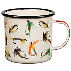 Wild & Wolf - Fishing Print Cream Enamel Mug