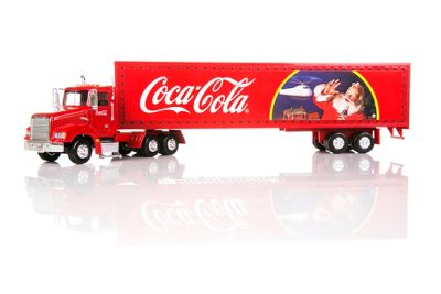 Coca Cola Christmas truck die-cast model with light-up trailer - -