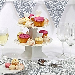 Talking Tables - Wedding 2 tier cake stand with 20 heart cake toppers
